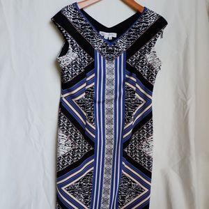 Maggy London BodyCon Dress Tribal Pattern Scuba